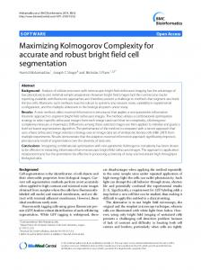 Maximizing Kolmogorov Complexity for accurate ... - BMC Bioinformatics