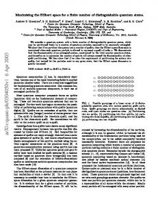 Maximizing the Hilbert space for a finite number of distinguishable ...