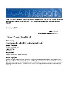 Maximum Levels of Mycotoxins in Foods China - Peoples Republic of