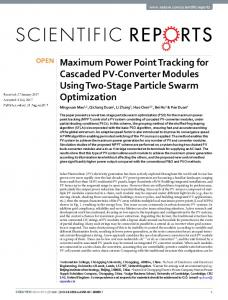 Maximum Power Point Tracking for Cascaded PV-Converter Modules