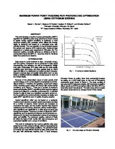 maximum power point tracking for photovoltaic optimization using ...