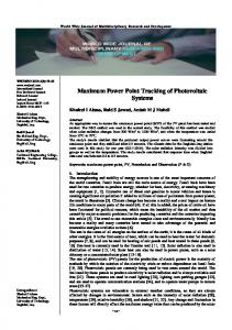 Maximum Power Point Tracking of Photovoltaic Systems