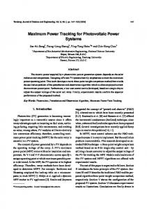 Maximum Power Tracking for Photovoltaic Power Systems