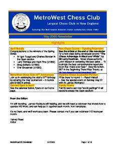 May 2005 Newsletter Highlights - MetroWest Chess Club