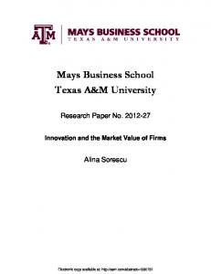 Mays Business School Texas A&M University - SSRN papers