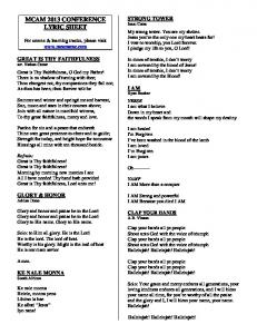 MCAM 2013 CONFERENCE LYRIC SHEET - WordPress.com