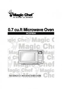 MCB780W Microwave Oven - UCSD Department of Physics