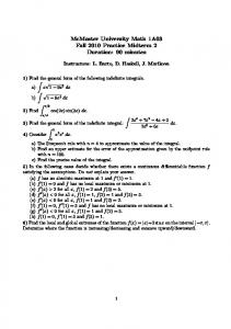 McMaster University Math 1A03 Fall 2010 Practice Midterm 2 ...