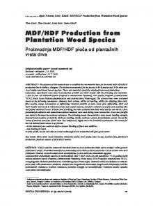 MDF/HDF Production from Plantation Wood Species