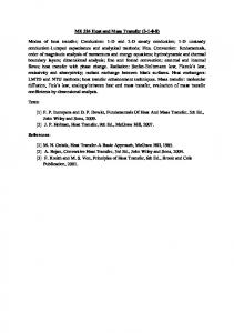 ME 324 Heat and Mass Transfer (3-1-0-8) Modes of heat transfer ...