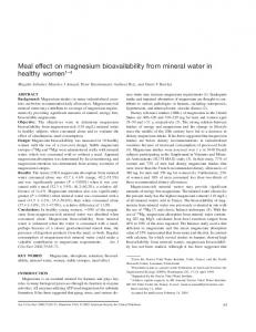 Meal effect on magnesium bioavailability from mineral water in healthy ...