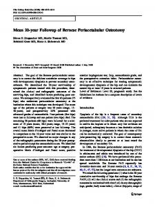 Mean 20-year Followup of Bernese Periacetabular Osteotomy - Core