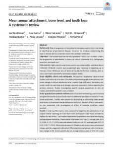 Mean annual attachment, bone level, and tooth ... - Wiley Online Library