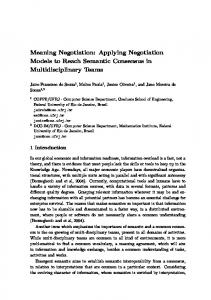 Meaning Negotiation: Applying Negotiation Models to