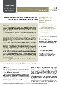 Meaning of Caring from Critical Care Nurses' Perspective - Journal of ...