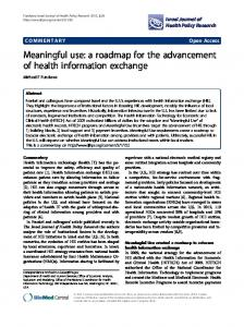 Meaningful use: a roadmap for the advancement of health information ...