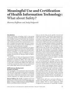 Meaningful Use and Certification of Health Information Technology ...