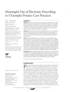 Meaningful Use of Electronic Prescribing in 5 Exemplar Primary Care ...