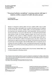 meanings patients with type 2 diabetes mellitus assigned to ... - SciELO