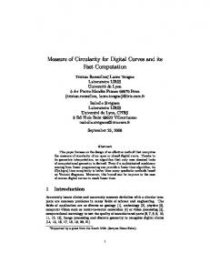 Measure of Circularity for Digital Curves and its ... - Semantic Scholar