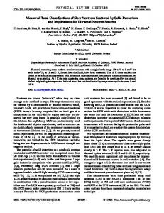 Measured Total Cross Sections of Slow Neutrons Scattered by Solid ...