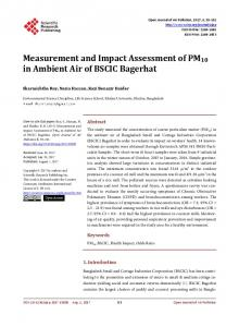 Measurement and Impact Assessment of PM10 in Ambient Air of ...