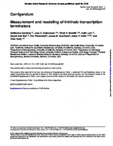 Measurement and modeling of intrinsic transcription ...