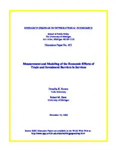 Measurement and Modeling of the Economic Effects of Trade and ...