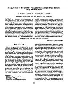 Measurement of Broiler Litter Production Rates and ...