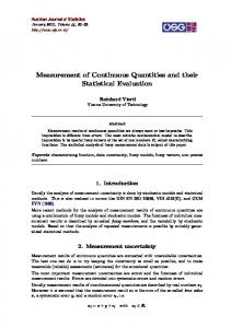 Measurement of Continuous Quantities and their