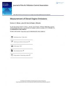 Measurement of Diesel Engine Emissions