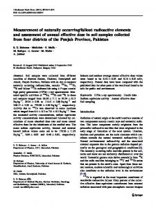 Measurement of naturally occurring/fallout radioactive elements and ...