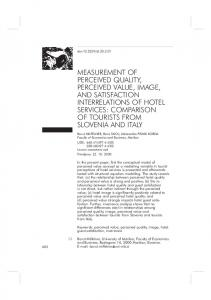 measurement of perceived quality, perceived value, image