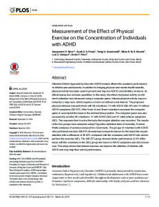 Measurement of the Effect of Physical Exercise on the ... - PLOS