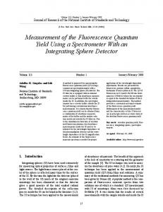 Measurement of the Fluorescence Quantum Yield Using ... - NIST Page