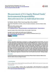 Measurement of U.S. Equity Mutual Funds' Environmental ...