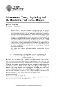 Measurement Theory, Psychology and the Revolution ...