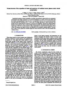 Measurements of the equations of state and ... - APS Link Manager