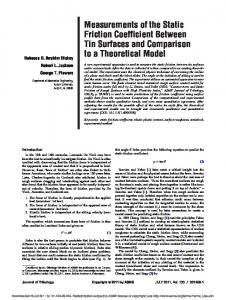 Measurements of the Static Friction Coefficient