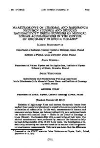 Measurements of Thermal and Resonance Neutron Fluence and ...