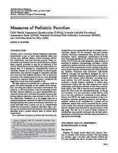 Measures of pediatric function: Child Health ... - Wiley Online Library