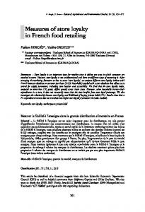 Measures of store loyalty in French food retailing - AgEcon Search