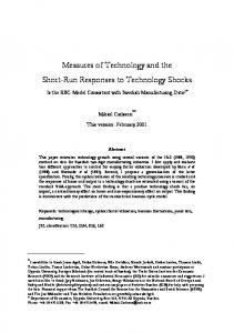 Measures of Technology and the Short-Run Responses to ... - CiteSeerX