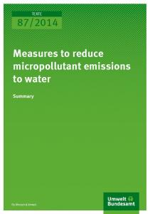 Measures to reduce micropollutant emissions to ... - Umweltbundesamt