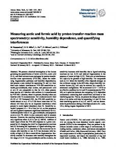 Measuring acetic and formic acid by proton-transfer-reaction mass ...