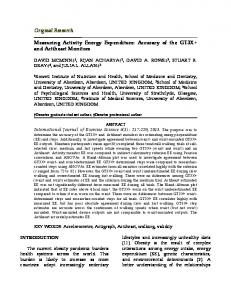 Measuring Activity Energy Expenditure: Accuracy of the GT3X+ ... - Core
