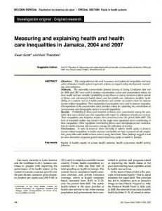Measuring and explaining health and health care inequalities in ...