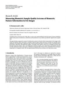 Measuring Biometric Sample Quality in terms of Biometric Feature