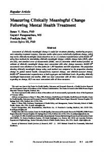 Measuring Clinically Meaningful Change Following ... - Springer Link