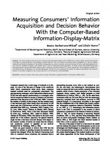 Measuring Consumers' Information Acquisition ... - Hogrefe eContent